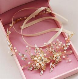 $enCountryForm.capitalKeyWord Canada - Wedding Bridal Crystal Rhinestone Headband Hair Band Vintage Pearl Hair Accessories Jewelry Flower Crown Tiara Silver Gold Queen Headdress