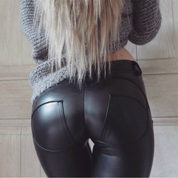 Pantalon Sexy En Cuir Noir Pas Cher-Wholesale- Faux Leather Hot Sale Elastic Shaping Hip Push Up Pants Bottom Black Leggings sexy Femmes Jegging Gothic Leggins EXE0319