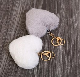 $enCountryForm.capitalKeyWord Canada - Luxury Fluffy Fur Keychain Soft Heart Lovely Heart Shape Pompons 8CM Genuine Rabbit Fur Ball Car Handbag Key Ring Multicolor