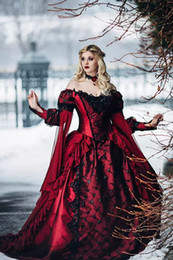 Barato Applique De Renda Vermelha Nupcial-Gothic Sleeping Beauty Princess Medieval Red and Black Ball Gown Vestido de noiva Long Sleeve Lace Appliques Vintage Bridal Gowns