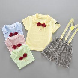 Belts Piece Canada - Baby Boys Clothing Sets Boys Two Piece Set Bow Tie T-shirt Plaid Short Suspender Pants Belt pants Infant Toddler Clothes
