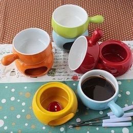 Fondue à la vapeur Fromage Temps Limité Courrier En Céramique Cheese Hot Pot Crème Glacée Hot Pots Chocolat Chaudière De Foyer Gros ZA3208