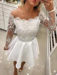 Gold Lace Peplum Dress Australia - White Homecoming Dresses Long Sleeve Applique Lace graduation dresses Jewel Neck Pearls Peplum Short Prom Dresses For Gowns