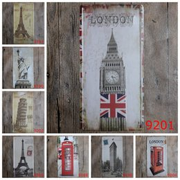 Big eiffel tower online shopping - Big Ben Eiffel Tower Statue of Liberty vintage license plates retro iron painting wall sticker number plate metal craft