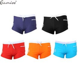 Surf Compression Shorts NZ - Wholesale- Gamiss Men Swimwear Surf Board Beachwear Briefs Sexy Man Skin Compression Swim Trunks Male Boxer Shorts Swimsuits Hombre Pouch