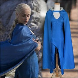 Barato Vestido Sexy Jogo-Elliehouse Cosplay Game of Thrones Daenerys Targaryen Cosplay Costume Dragon Mother Fancy Carnival Party Blue Sexy Dress Cloak