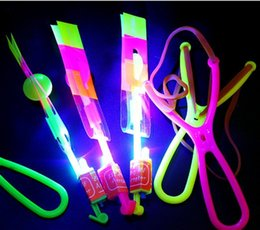 Discount shooting helicopter toy - LED Flier Flyer LED Flying Amazing Arrow Helicopter Flying Umbrella Kids Toys Amazing Shot Light-Up Parachute Gifts