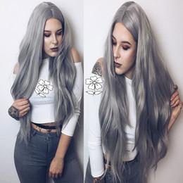 ... del merletto di colore lungo di colore grigio di modo Parrucca glueless  senza cuciture resistente al calore con la separazione libera dei capelli  del ... 8a847ee24ef1