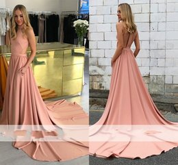 Discount cross back dresses red carpet - Simple High Neck A Line Evening Dresses with Pocket Long Formal Evening Gowns For Ceremony Cheap High Quality Celebrity