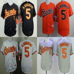 3d9a7e9f2 ... Stitched MLB Jersey Men Baltimore Orioles 5 Brooks Robinson gray white  orange black baseball jerseys adult size mix order ...