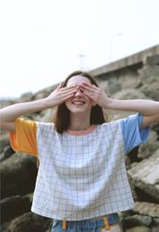 Discount korean style girls top - Wholesale-2016 Summer new Korean Women short-sleeved T-shirt cute plaid spell color ulzzang Harajuku style T shirts girl