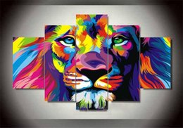 canvas oil lion Canada - Framed Huge 5 Panel hand-painted Modern Abstract Animal Lion King Home Decor Wall Art Oil Painting On Canvas Multi sizes R78