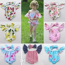 Discount white baby onesie wholesale - cotton baby rompers set boat neck onesie flutter sleeve tops girls flower headbands + floral bodysuits 4th of july toddl