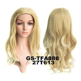 Discount synthetic blonde hair half wig - no lace Daily wigs Cosplay Hair Peruca Pelucas Woman Fashion 3 4 Half Wig Hair Pad Long Synthetic wave Hair Wig Hairpiec