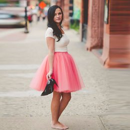 $enCountryForm.capitalKeyWord NZ - Trendy Coral Knee Length Tulle Skirt Puffy 5 Layers And 1 Lining Tutu Skirt For Lady Sky Blue Silver Lavender
