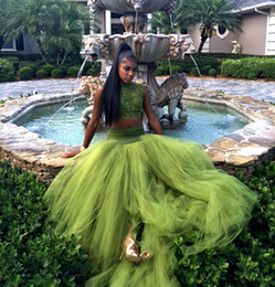 Barato Camadas De Chiffon Tops-African Two Pieces Organza Long Prom Dresses Layered Tulle Full Skirts Evening Gown 2017 Sequins Appliques Lace Top Formal Party Dress