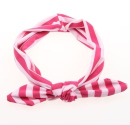 Étirement En Gros Pas Cher-Vente en gros - 1 PCS Baby Girl Kids Soft Stretch Stripe Rabbit Bow Bowknot Turban Hairband Headband Head Wrap Hair Band Accessoires