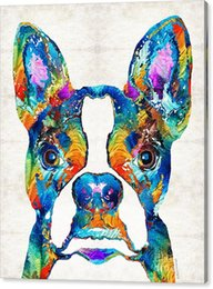 $enCountryForm.capitalKeyWord UK - Youme art colorful boston terrier dog Giclee oil painting arts and canvas wall decoration 76x90 cm