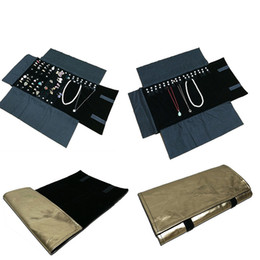 $enCountryForm.capitalKeyWord Canada - Fashion Gold PU Jewelry Travel Roll Bag Black Velvet Ring Necklace Pendant Earring Storage Organizer Display Roll Bag 29*10cm