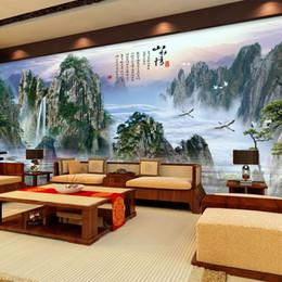 Personnalisé fond d'écran photo peintures murales Belle TV fond cèdre décoration de la maison salon étude style chinois en Solde