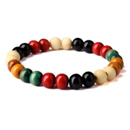 wood fish hook Canada - Colorful Charm Bracelet 5 Color Wood Beads Elastic Cord Bangle Men Women Hip Hop Jewelry For Present