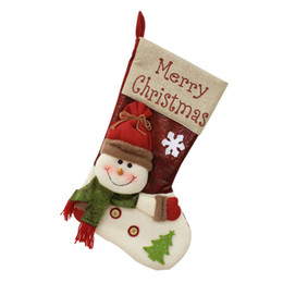 santa stocking holders 2019 - Christmas Stocking Santa Socks Christmas Gift Bags For Kids Christmas Decoration For Home Xmas Tree Hanging Candy Gift H
