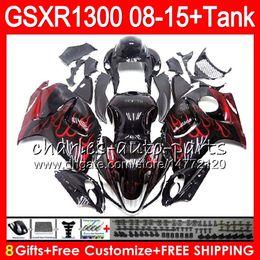 China 8Gifts 23Colors For SUZUKI Hayabusa GSXR1300 08 09 10 11 12 13 14 15 19NO56 red flames GSX R1300 GSXR 1300 2012 2013 2014 2015 Fairing Kit cheap gsxr fairing red white suppliers