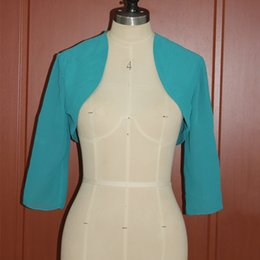 Images Pour Vestes De Mariée Pas Cher-Real Image Teal Chiffon Bolero Wedding Evening Party Vestes de mariée Shrugs Cheap Custom Made Mini Jacket 2017