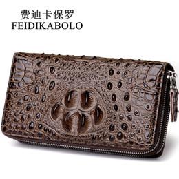 Chinese  FEIDIKABOLO 3D Embossing Alligator Fashion Crocodile Long Clutch Wallets men Double zipper Leather Men's Purse Business Carteras manufacturers