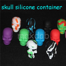 Round Skull NZ - 20 X Large Silicone Jars Dab Wax Container Skull Shape Container Bho Silicon Box Tub Jar Wax New