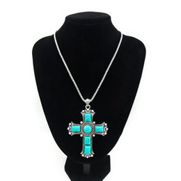 Wholesale Vintage Cross Pendant Necklaces Silver Chain Blue Stone Necklace Women Jewelry Big Cross Necklace Jesus Piece Nkej84