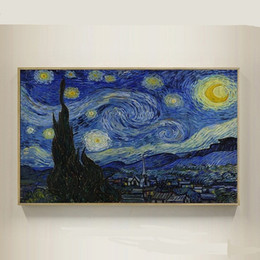 Van Gogh Paints Canada - The Starry Night,Pure Hand Painted Modern Wall Decor Vincent Van Gogh Abstract Art Oil Painting On High Quality Canvas.Multi sizes VG001