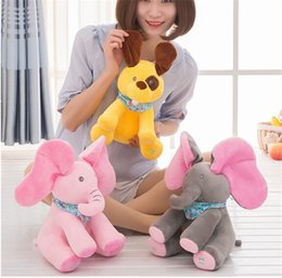 elephants baby 2019 - 120pcs Peek-a-boo Elephant Baby Plush Toy Singing Stuffed Animated Doll Gift Elephant Stuffed Animals Hide and seek Elec