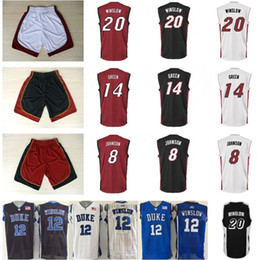 8a7b2409f ... Printed Red Black White 8 Tyler Johnson 20 Justise Winslow Jersey Men  14 Gerald Green Shirt ...