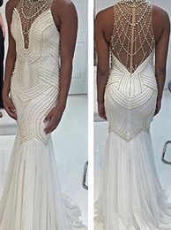 Barato Longo Vestido Apertado Branco-Designer Mermaid Beading Pearl Prom Dresses 2017 New Fashion Off White Pavimento Comprimento Long Tight Evening Gown
