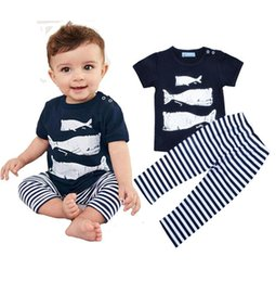 $enCountryForm.capitalKeyWord NZ - infant hot sell Boy Clothing Set Cartoon Whale Pattern T-shirt+Striped Pants Kids 2pcs Set 2017 Summer Style Animal Fish Baby Girl Clothes