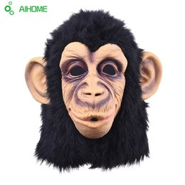 Monkey Halloween Costumes Canada - Wholesale-Super Lovely Monkey Head Latex Mask Full Face Adult Mask Halloween Masquerade Fancy Dress Party Cosplay Costume Cute Animal Mask