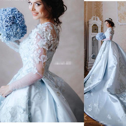 Manches Transparentes Bleu Pas Cher-Arbric 2017 Blue Wedding Dresses Sheer Neck 3D Appliques florales Robes de mariée Long Sleeve Sweep Longueur robe de bal nuptiale