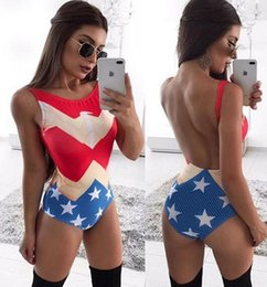 Maillot De Bain Sans Dossier Pas Cher-2017 nouveau maillot de bain femme à la mode Fashion Striped American flag printing Swimwear Sexy Backless Bikini Sets Beach Spa Spa