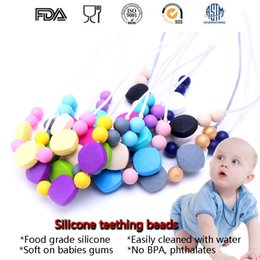 Baby Teething Silicone Canada - Length 70CM BPA Free Food Grade DIY Silicone Baby Chew Beads Teething Necklace Wholesale Nursing Jewelry Teether for Mom Mommy to Wear