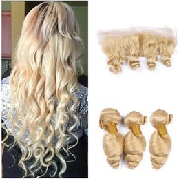 $enCountryForm.capitalKeyWord NZ - Loose Wave #613 Blonde Full Lace Frontal Closure With 3 Bundles Peruvian Platinum Blonde Human Hair Weaves With Lace Frontal Closure