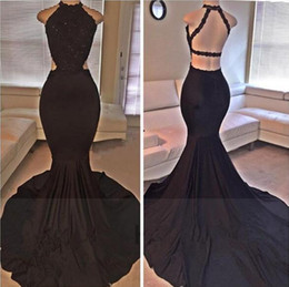 Barato Longas Cetim Vestido Lantejoulas-2017 Sexy Halter preto cetim sereia Long Prom Dresses Lace Sequins Beaded Lado Backless Slit Evening Dresses Vestidos de festa formal