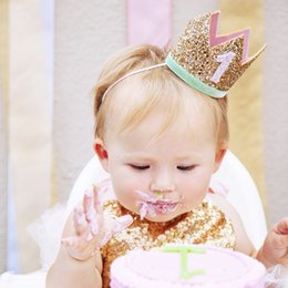 Handmade Bow Tiara Canada - Sequin Baby Birthday Tiaras Headbands Handmade Felt First Birthday bows Elastic band Party Newborn Photography Props hairbows Smash Cake