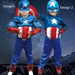 Costumes De Cosplay Pour Garçons Pas Cher-Enfants Vénus Genuine Boys Captain America Movie Classic Cosplay Costume Muscle Halloween