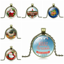 merry christmas pendant NZ - Brand new Explosive Merry Christmas Time Gemstone Glass Pendant Necklace Jewelry WFN549 (with chain) mix order 20 pieces a lot