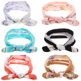 Lacets À Nœud Élastique Pas Cher-New Baby Girls Lace Bunny Ear Headbands Infant Kids Knot Summer Hairbands Children Elastic Headband Accessoires pour cheveux 6 couleurs KHA516