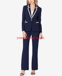 Suits Contrasting Lapels Australia - Latest Custom Women Business Suits Navy Pant Suits Notched Collar Single Button Welt Pockets Contrast Trim At Collar And Pockets