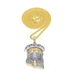 african masks 2019 - Silver Masked Jesus Pendant Fashion Punk Jewelry Iced Out Bling Rhinestone Gold Plated Hip Hop Pendant Necklace Cuban Ch