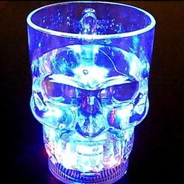 Plastic Glass Light Up Canada - Wholesale-Creative 24hr Flash Light Up Cups Flashing Luminescent Glass Beer Mug Induction Skull Halloween LED Cup Party Drink