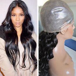 Thin skin lace wigs online shopping - Hot Pu Wigs B Virgin Human Hair Brazilian Wavy Hair inch Full Thin Skin Wig